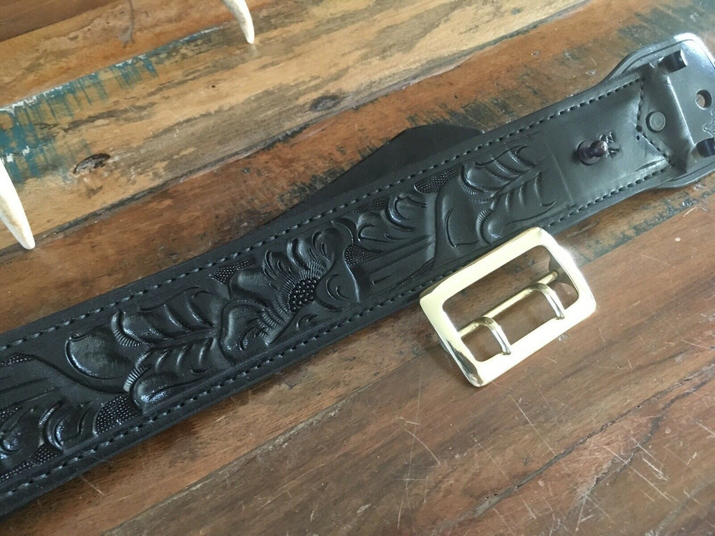 Vintage Tex Shoemaker Black Floral Carved Leather Police 2.25 Duty Belt Size 34