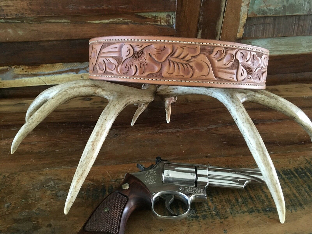 Tex Shoemaker Border Patrol Style Brown Floral Carved Leather Holster Gun Belt
