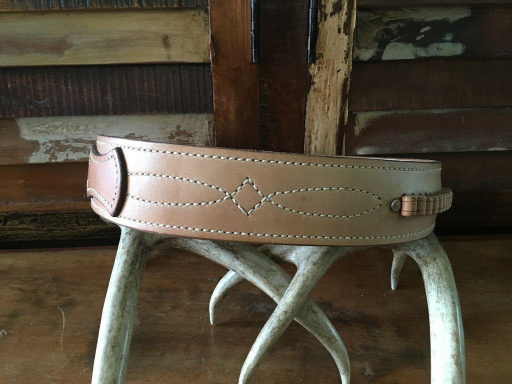 "Vintage Tex Shoemaker Brown Leather Cartridge Gun Belt Fancy Stitched .22 29"" 33"