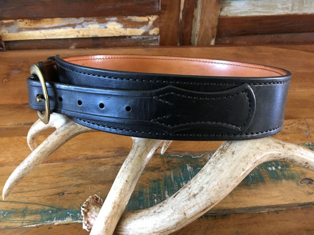 Tex Shoemaker Black Western Border Patrol Leather Gun Belt Lined Brass Buckle