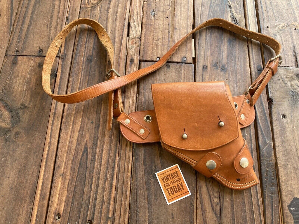 Vintage Brown Leather Aircrewman Military Style Revolver Holster M13 RIG