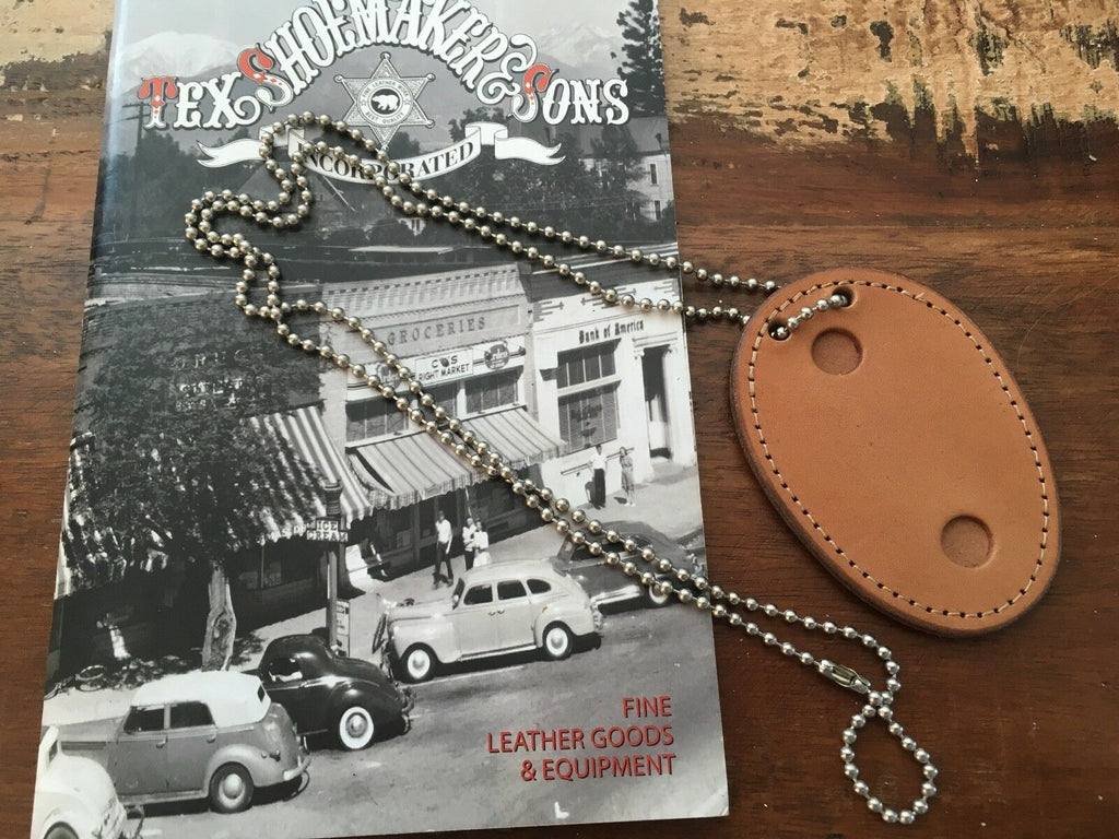Tex Shoemaker 301D Police Leather Oval Badge Holder w/ Raid Chain
