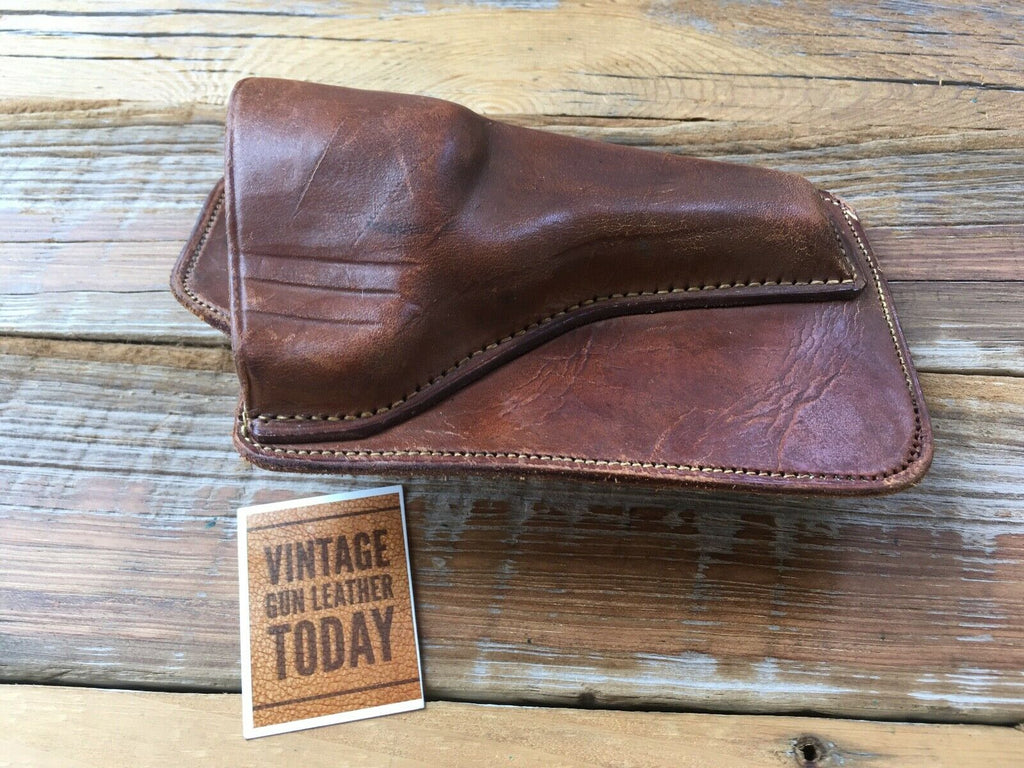 "Vintage Brown Leather Pocket Holster For 3"" S&W M&P Revolver"