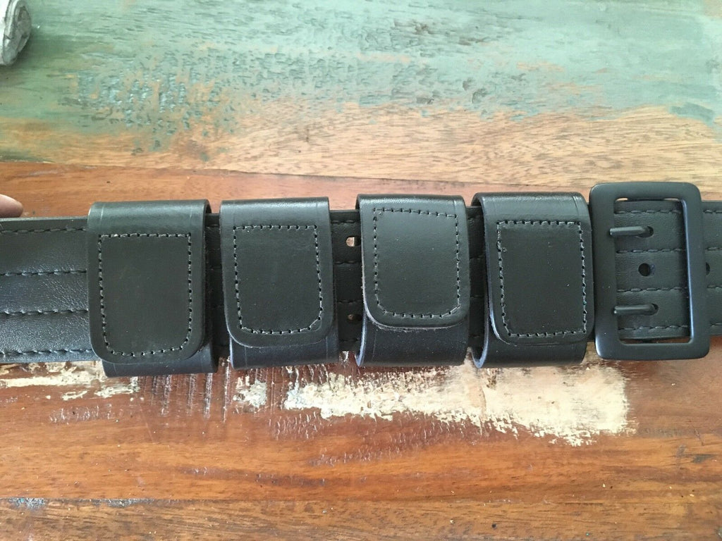 Tex Shoemaker Plain Black Leather Police Duty Belt Keepers Set of 4 Squared
