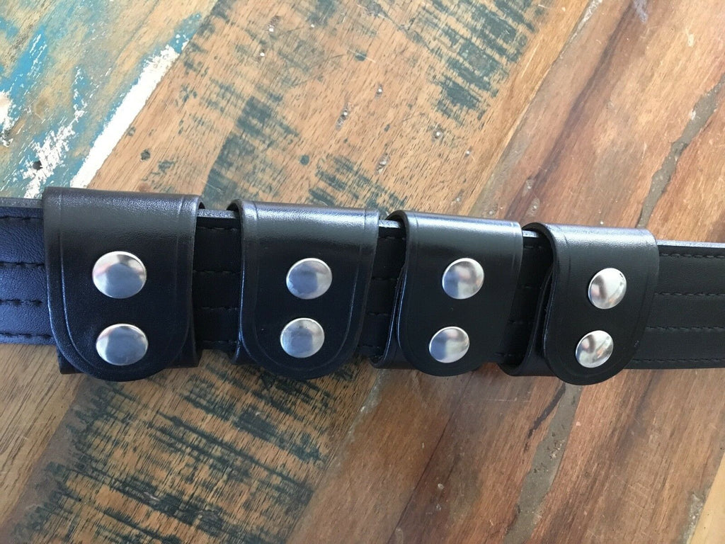 Set of 4 Tex Shoemaker Plain Black Leather Police Duty / Western Belt Keepers