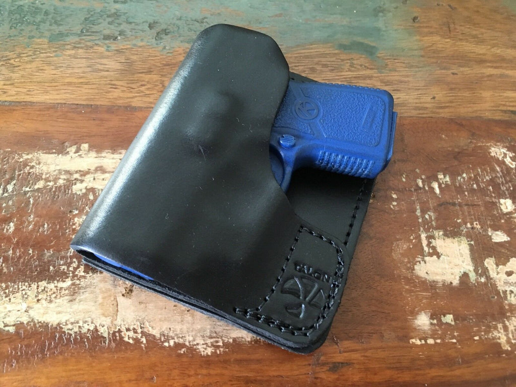 Sweet Talon Black Leather Wallet / Cargo Pocket Holster For KAHR .380 w CT LASER