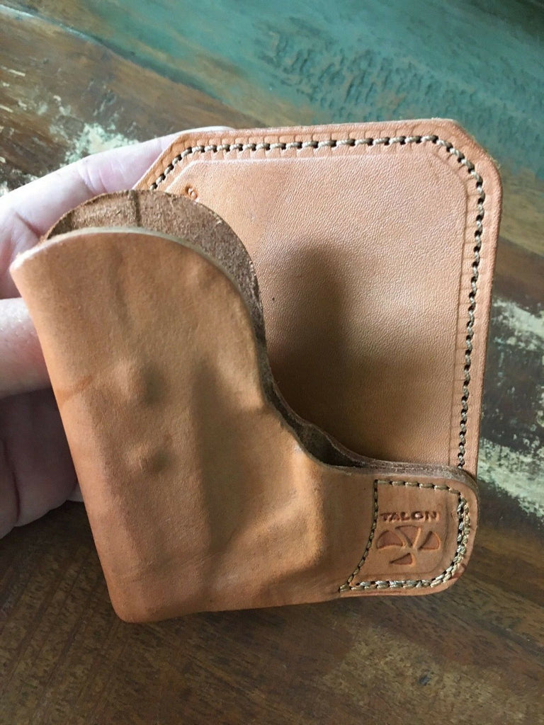 Talon Brown Leather Wallet / Cargo Pocket Holster For Taurus TCP w/ CT Laser