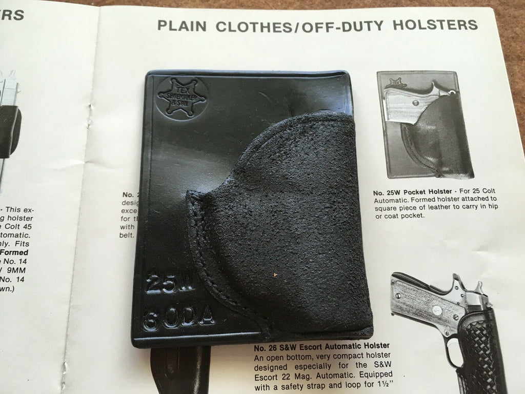 Tex Shoemaker 25W Black leather Pocket Holster Fits AMT .380