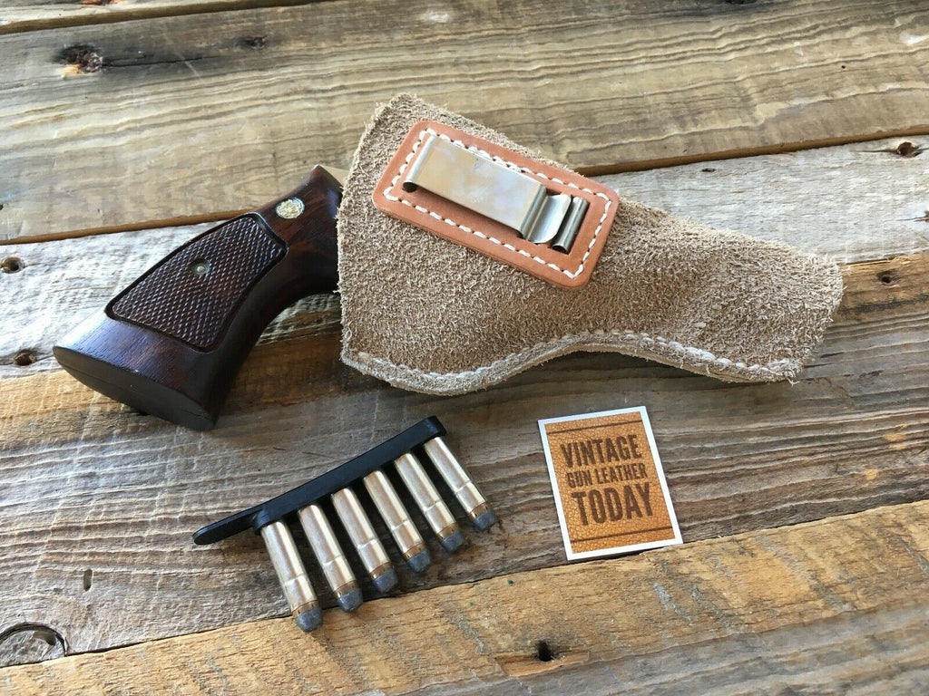 Tex shoemaker Suede Leather IWB Holster for S&W K Frame Medium Revolver up to 4""