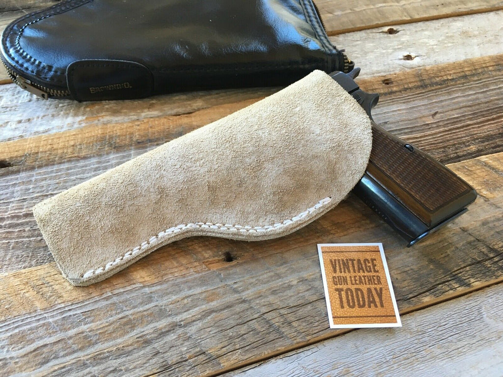 Vintage Tex shoemaker Suede Leather IWB Holster for Browning Hi Power Right Left