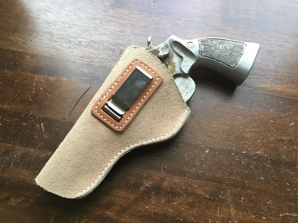 Tex shoemaker Suede Leather IWB Holster for S&W N Frame Large Revolver Up to 4""