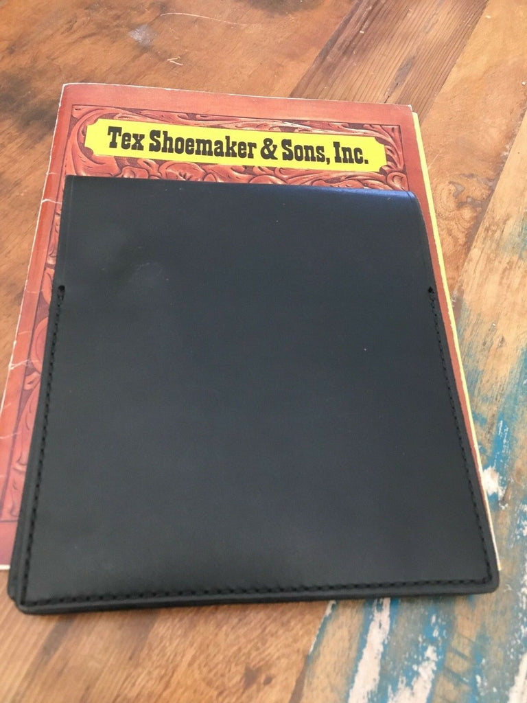 "Tex Shoemaker Notebook Holder Basketweave Leather 7 3/8"" x 8 1/4"" Fire EMS"