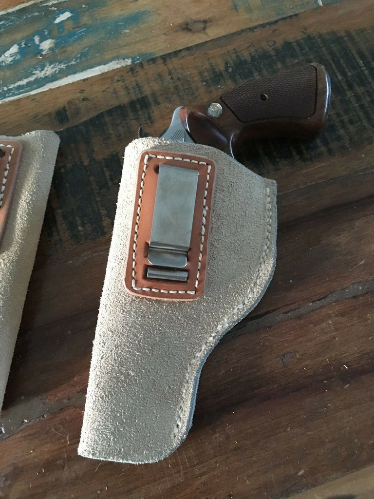 Tex shoemaker Suede Leather IWB Holster for S&W J Frame Small Revolver Up to 4""