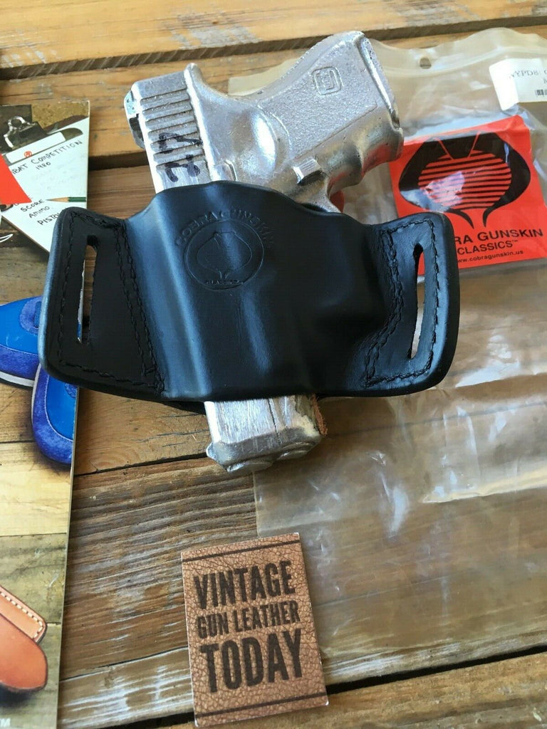Vintage Cobra Gunskin Black Leather OWB Holster For GLOCK 26 27 33 36