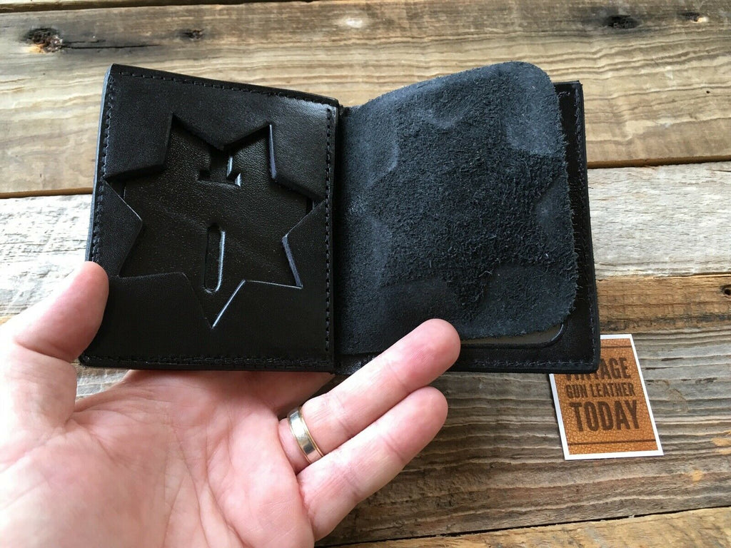 "Tex Shoemaker Black Leather Police / Sheriff Badge ID Wallet 7 Point 3"" Star P G"