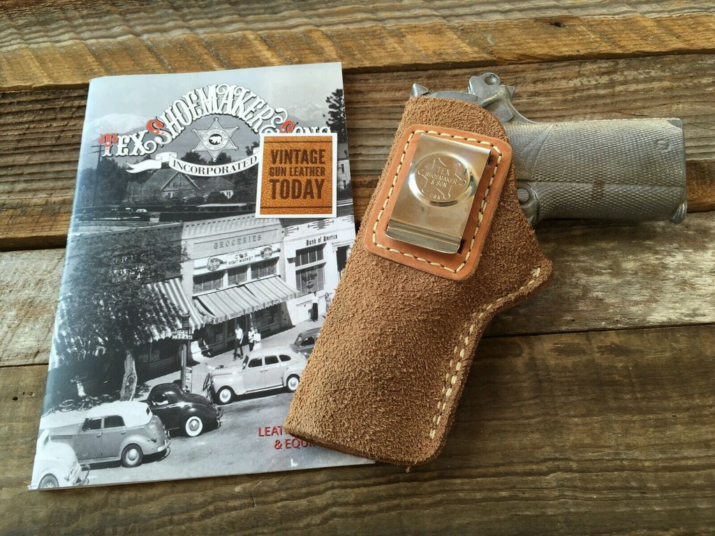 Tex Shoemaker Vintage Suede Leather IWB Holster For Colt Commander LEFT