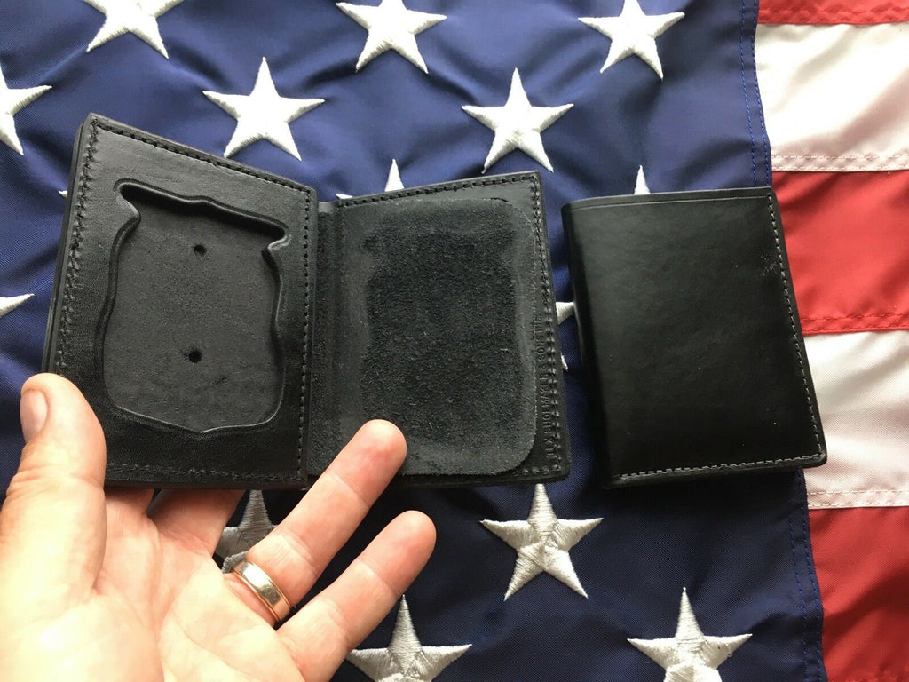 Tex Shoemaker Black Basketweave / Plain Leather Portland Police Badge ID Wallet