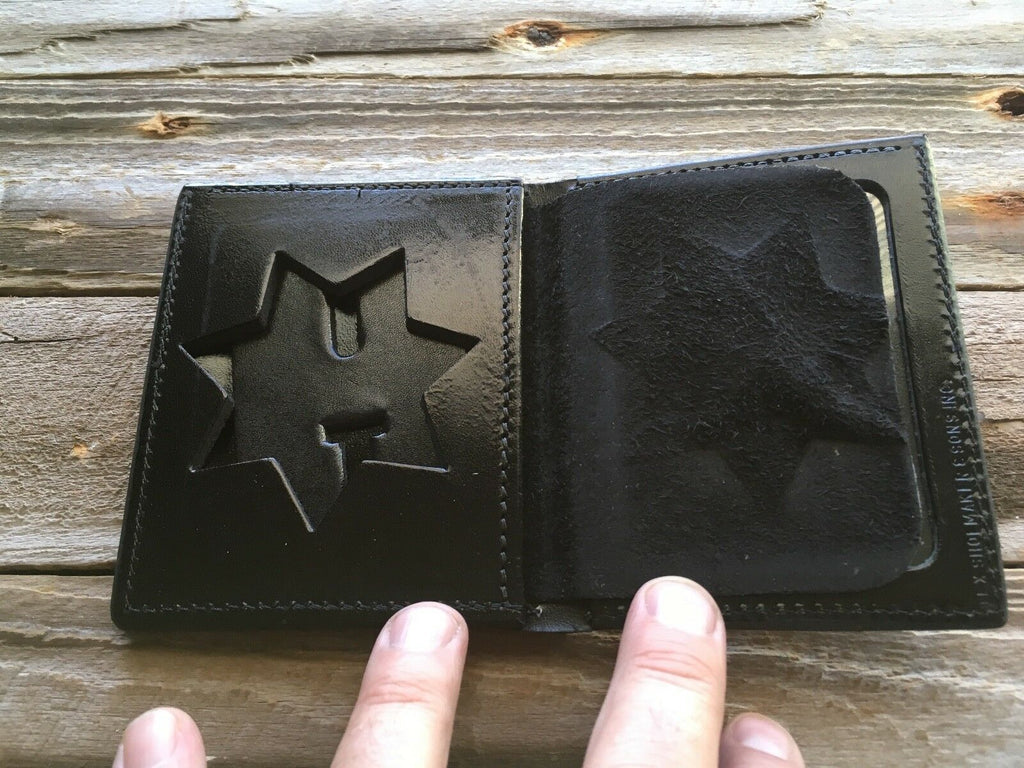 Tex Shoemaker 7 Point Star Badge ID Wallet W/ Cash Back San Diego Sheriff Style