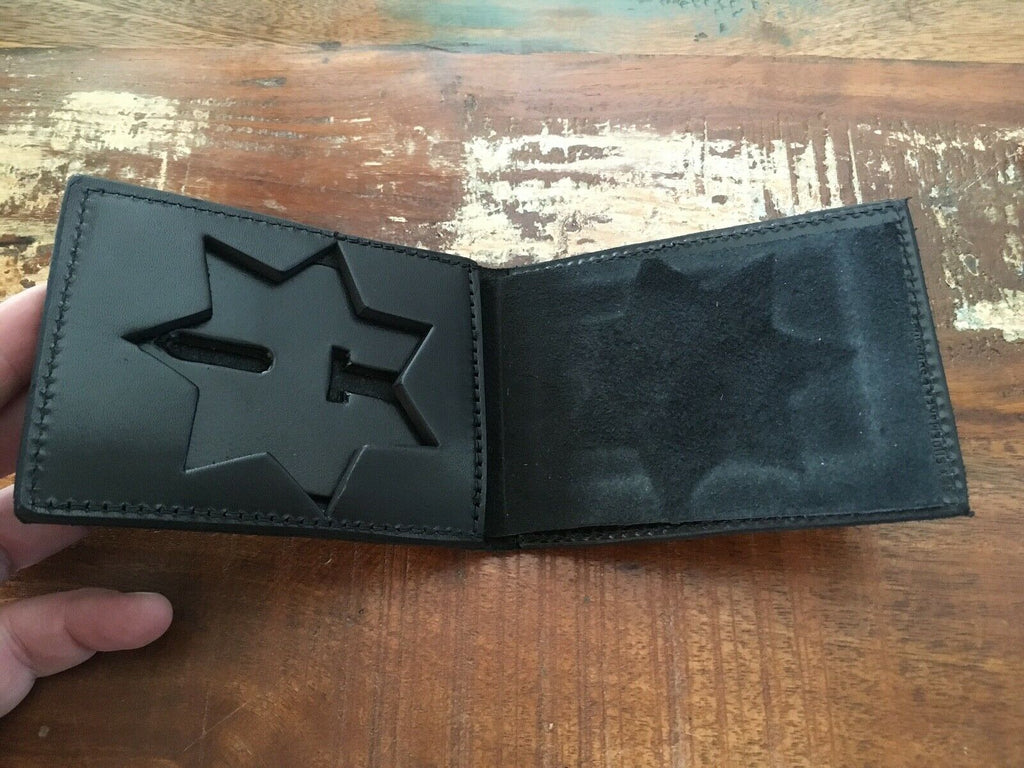 "Vintage Tex Shoemaker Black Leather Police Sheriff 7 Point 3 "" Star Badge ID Wallet"