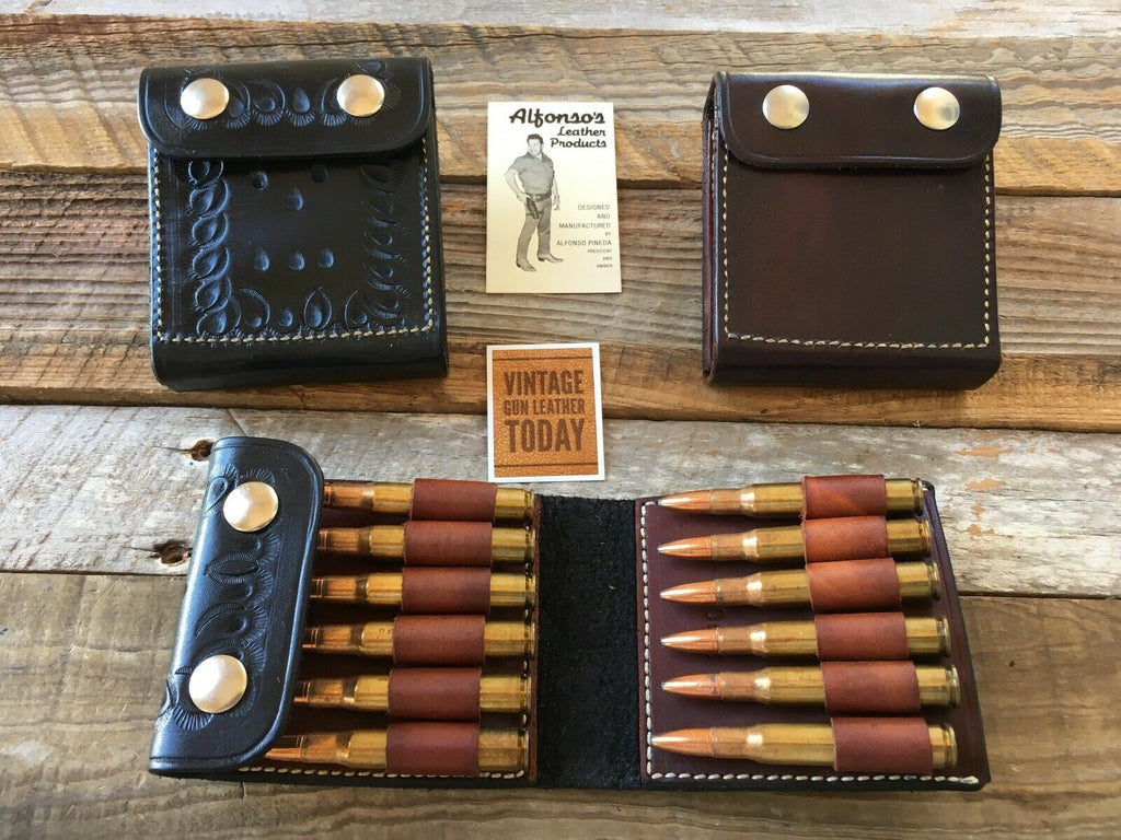 Beautiful Vintage Alfonso's 30-06 Leather Rifle Cartridge Belt Case Ammo Wallet