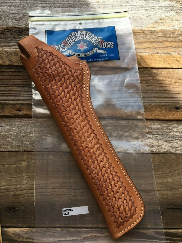 Tex Shoemaker Brown Basketweave Leather TB Holster For .44 Revolver 10""
