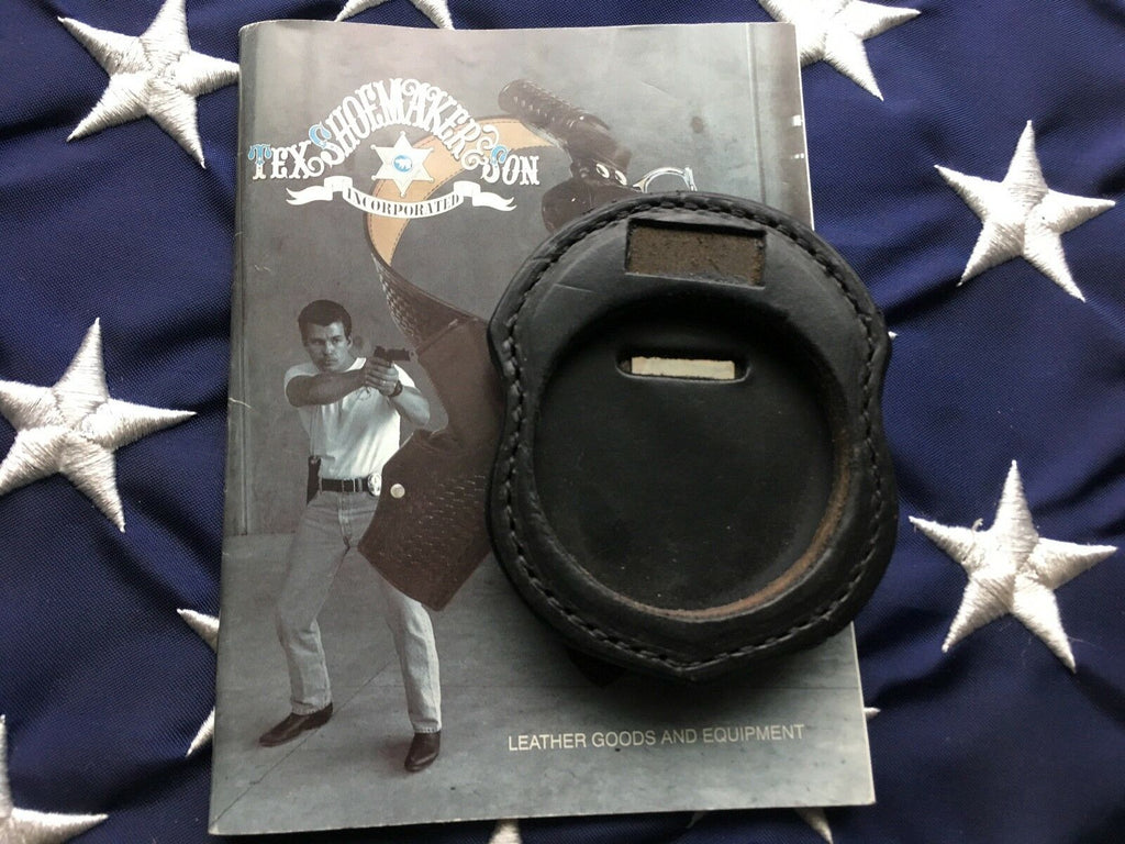 Tex Shoemaker Police Fire Round Badge Holder W/ Clip Black Leather