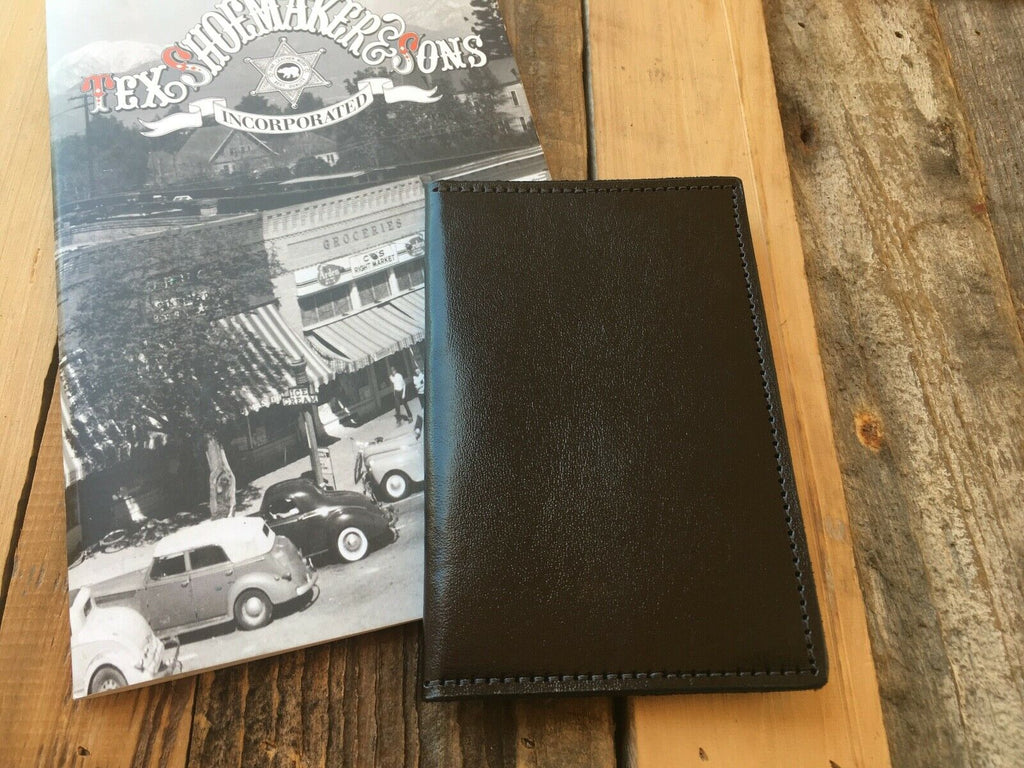 Tex Shoemaker Plain Black Leather Police Government ID Wallet Holder FBI CIA DEA