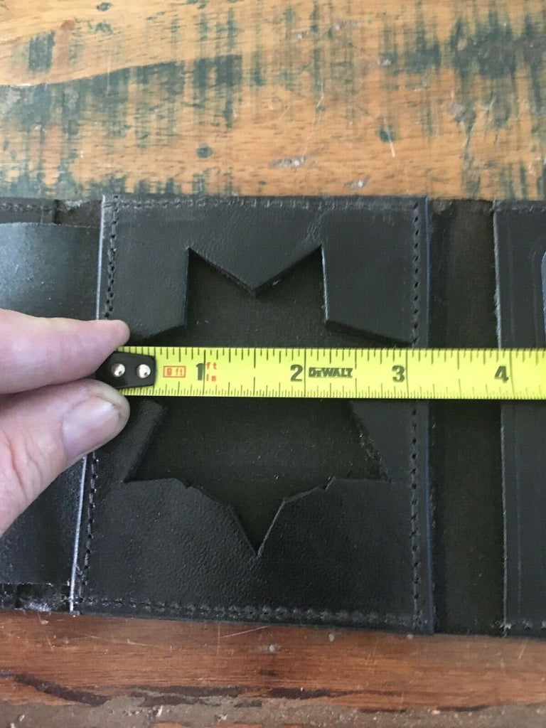 Vintage Tex Shoemaker Leather 7 Point Star CHP Police Sheriff Style Badge Wallet
