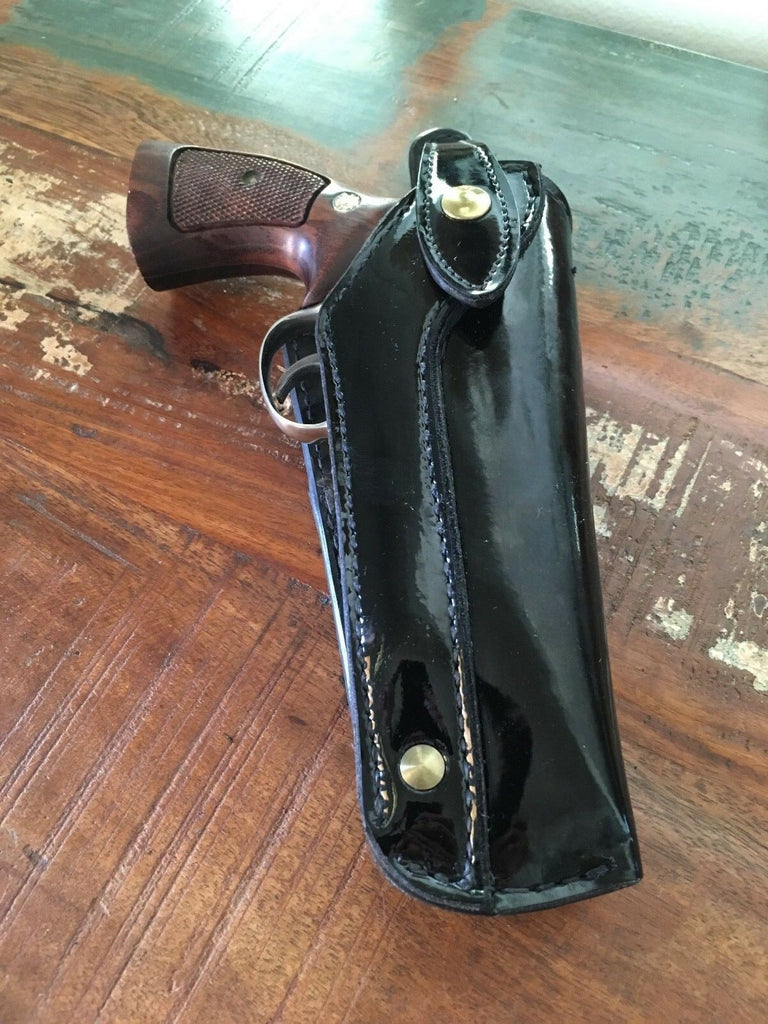"Vintage 1960s Tex Shoemaker Clarino Gloss Leather Cross Draw 5"" Revolver Holster"