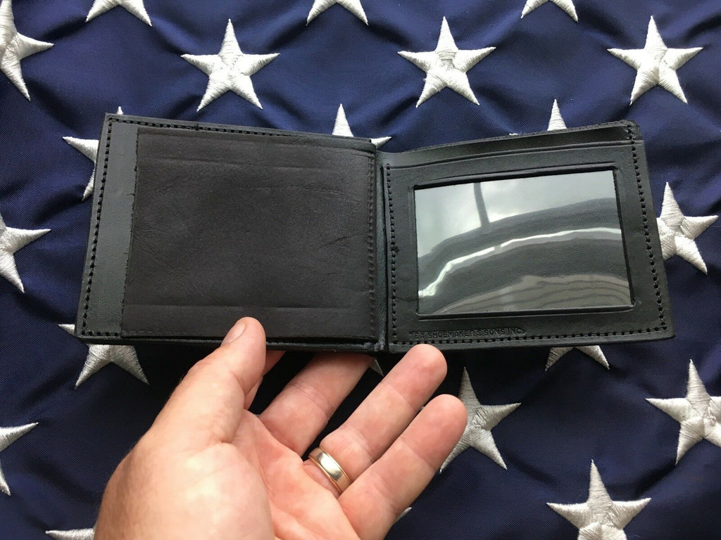 Vintage Tex Shoemaker 5 Point Star Sheriff Police Badge ID Wallet Black Leather