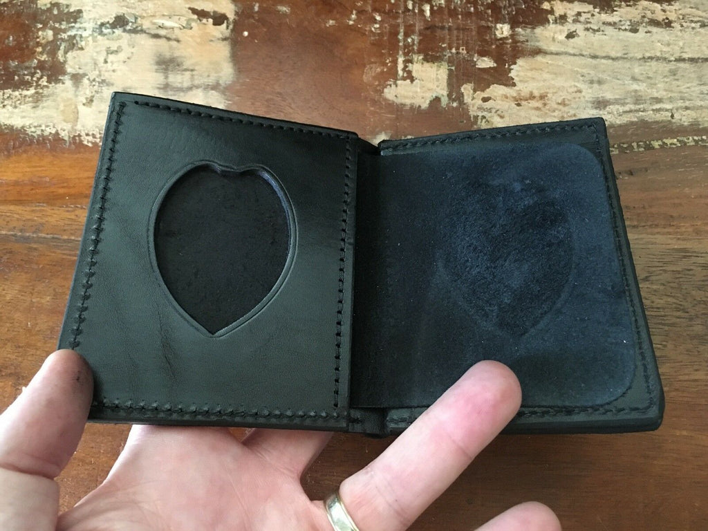 Tex Shoemaker Police Half Shield Badge ID Black Leather Wallet Basketweave Fire