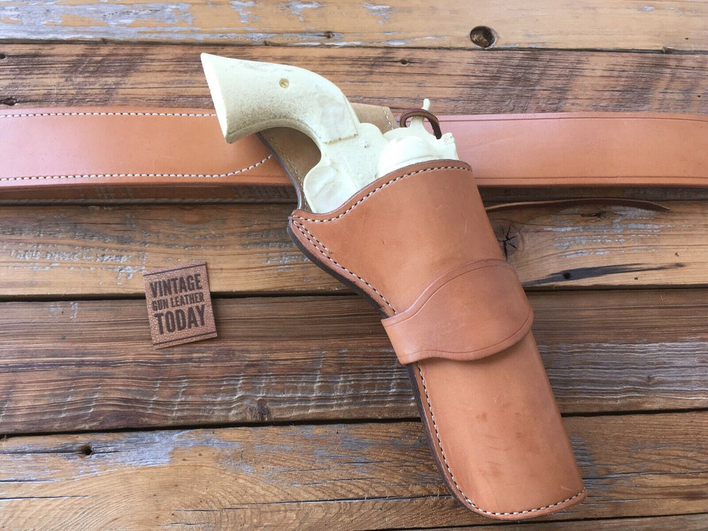 Vintage Tex Shoemaker Hondo Brown Leather Lined Cross Draw SA Revolver Holster