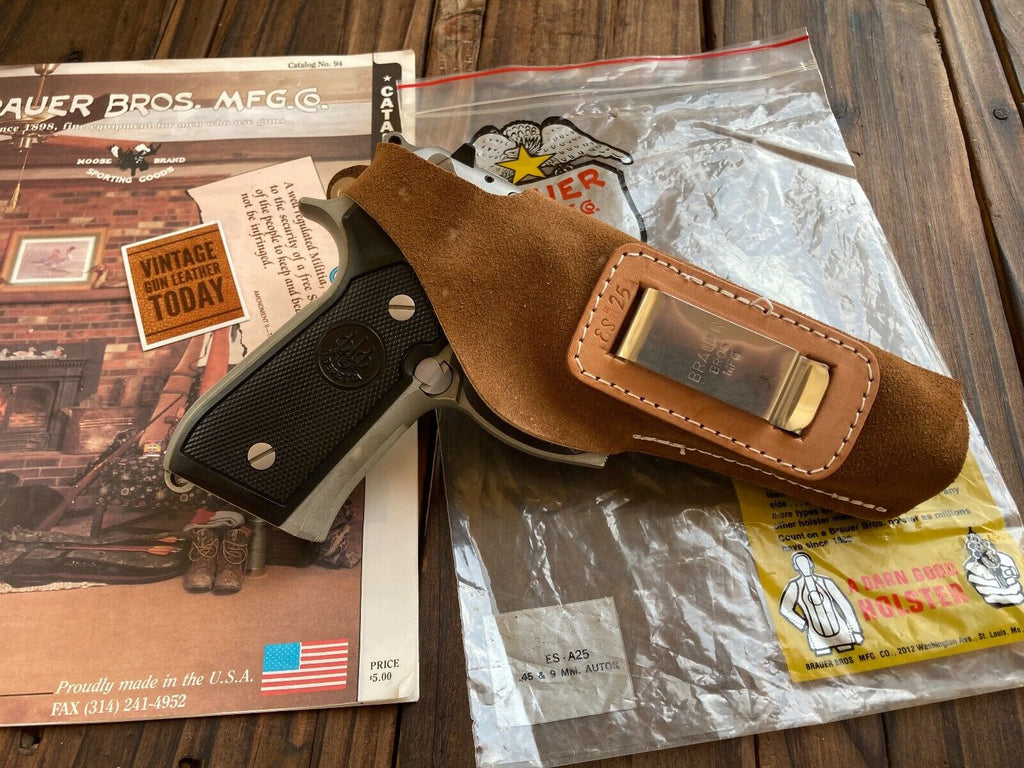 Brauer Brothers Suede Leather IWB Holster for .45 1911 645 Beretta 92 Hi Power