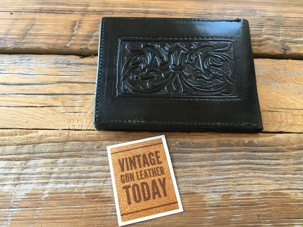 Vintage Alfonso's Leather Stamped Police Fire EMT Badge ID Wallet Sheriff Round