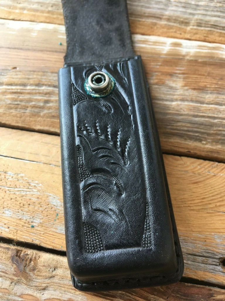 Vintage Tex Shoemaker Black Floral Carved Magazine Carrier for GLOCK 21