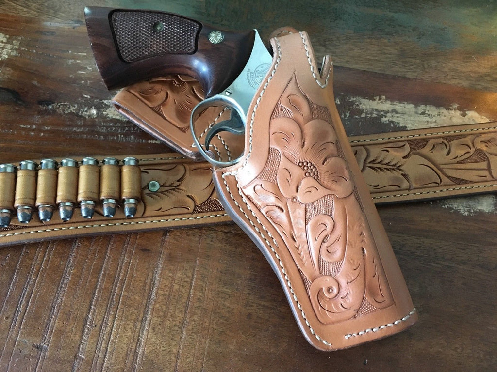 Vintage Tex Shoemaker Floral Carved Leather 35K Border Holster For S&W K Frame