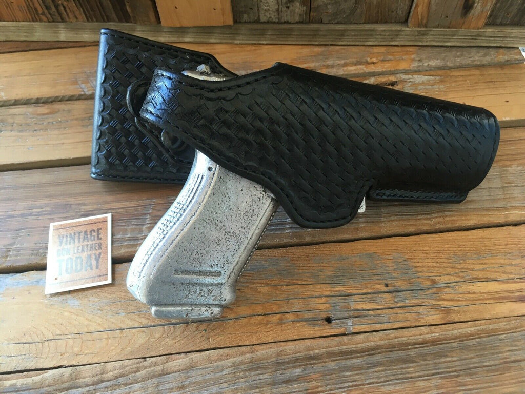 Alfonso's Black Basketweave Leather Lined Duty Swivel Holster for GLOCK 20 21