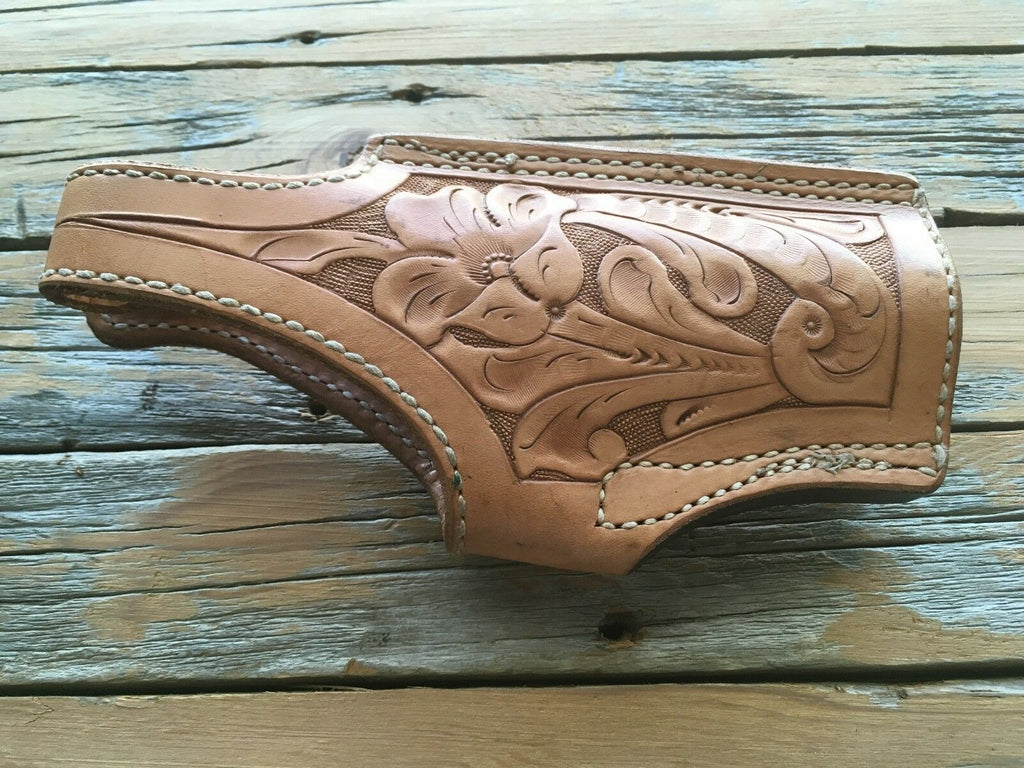 Vintage Tex Shoemaker Floral Carved Leather Lined High Ride Holster For S&W 4506