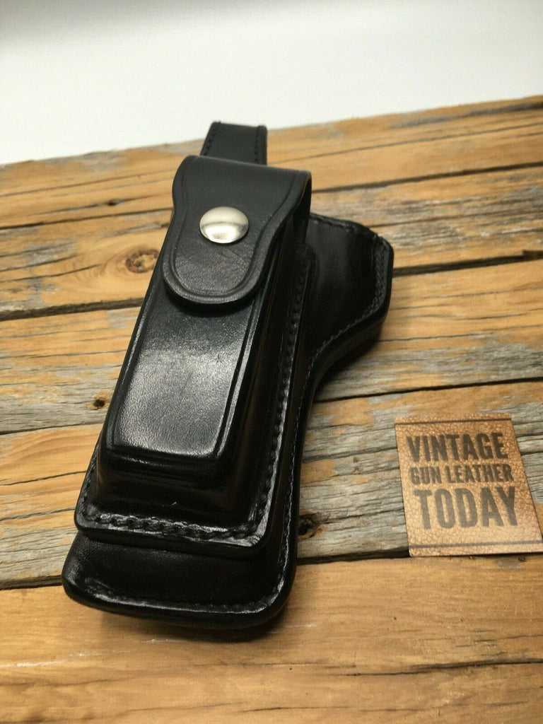 Alfonsos F67 Black Leather Holster Magazine Holder For S&W Model 59 Lined LEFT