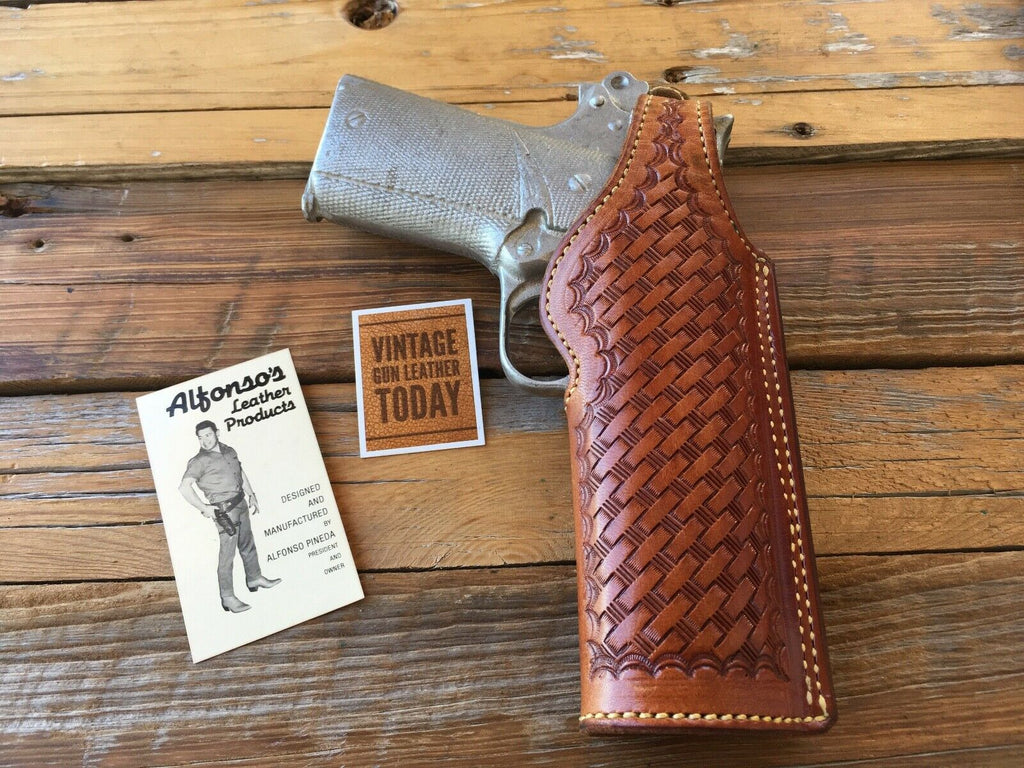 Vintage Alfonso's Brown Basketweave Leather Lined Holster For Colt Commander