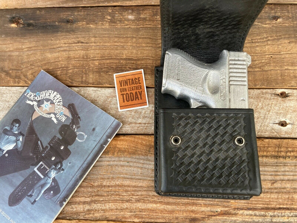 Tex Shoemaker Black Leather OWB Concealment Holster 60X For GLOCK 26 27 33