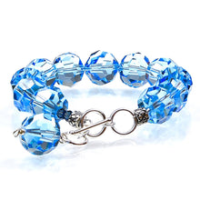 Load image into Gallery viewer, aquamarine swarovski crystal bracelet