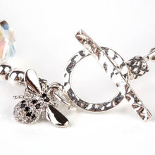 Load image into Gallery viewer, clear swarovski crystal bracelet with bee charm
