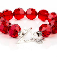 Load image into Gallery viewer, Red Swarovski Crystal Beaded Bracelet