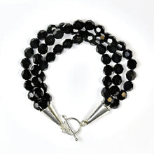 Load image into Gallery viewer, Three Strand Black Swarovski Crystal Bracelet