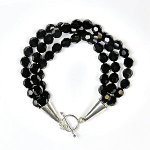 Three Strand Black Swarovski Crystal Bracelet