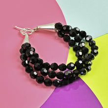 Load image into Gallery viewer, Black Swarovski 3 Strand Bracelet