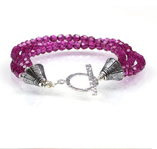 Load image into Gallery viewer, berry pink swarovski crystal bracelet