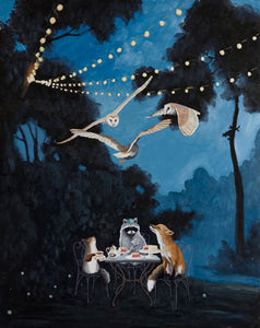 Fox, Raccoon and Squirrel w/ Dessert - 8x10 Limited Edition Print