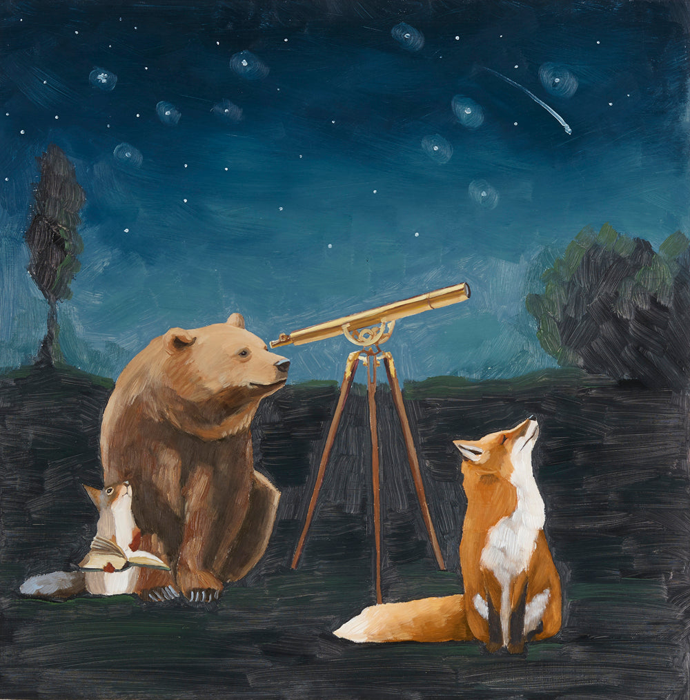 Bear, Fox and Squirrel w/ Telescope - 8x8 Limited Edition Print